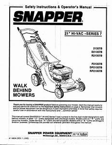 Snapper Lawn Mower Dp21357b User Guide