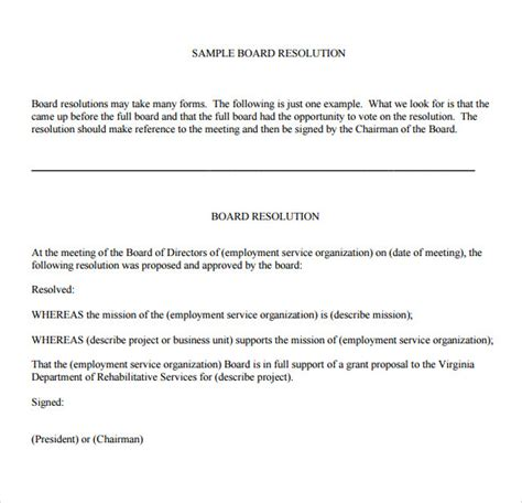 board resolutions template 6 board resolution sles pdf doc sle templates