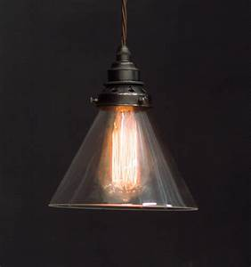 Es clear glass cone shade pendant vintage lighting