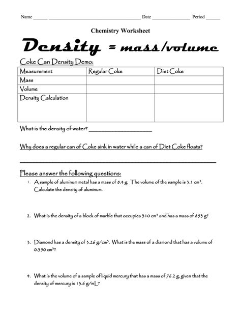 Density Mass Volume Worksheet Worksheets For All  Download And Share Worksheets  Free On