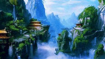 Nature Wallpapers Chinese Village Mountain Asian Scenery
