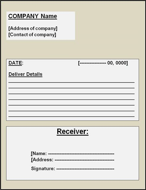 delivery receipt template  word templates
