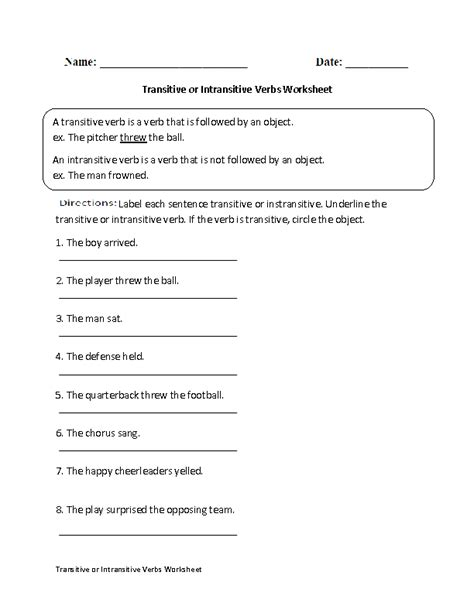 transitive and intransitive verbs worksheets free