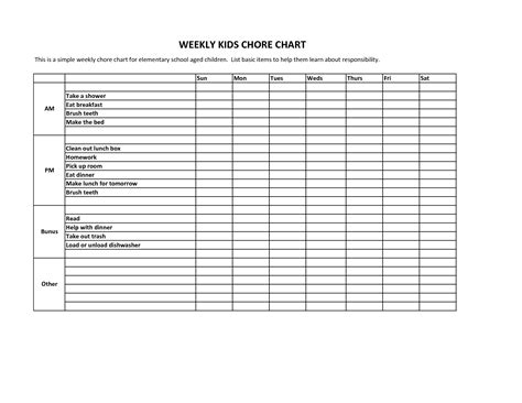 Q Chart Template by Blank Weekly Chart Template Images