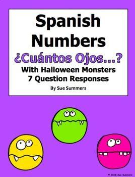 spanish numbers  halloween monsters cuantos ojos