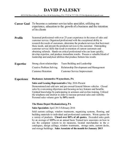 Cv Customer Service Sle by Customer Sales Resume