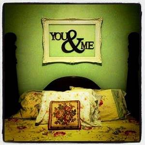 empty picture frame with wooden letters inside headboard With frame with letter inside