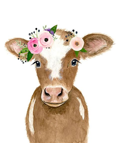 flower crowned brown calf baby farm animals  painting