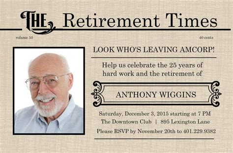 retirement flyer template  printable retirement