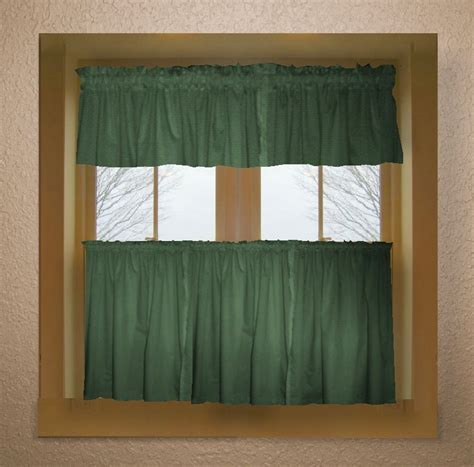 hunter green color tier kitchen curtain  panel set