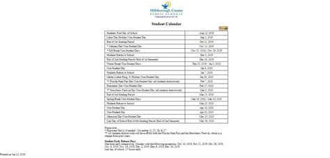 hillsborough county school calendar calendars