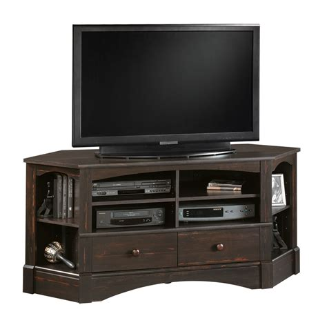 sauder storage cabinet with shop sauder harbor view antiqued paint tv stand at lowes com