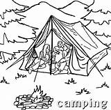Camping Coloring Tent Printable Sheet Campfire Sheets Template Tourist Templates Sketch sketch template