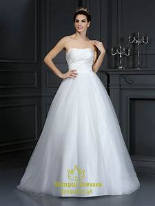 Simple Strapless White Ruched Bodice A