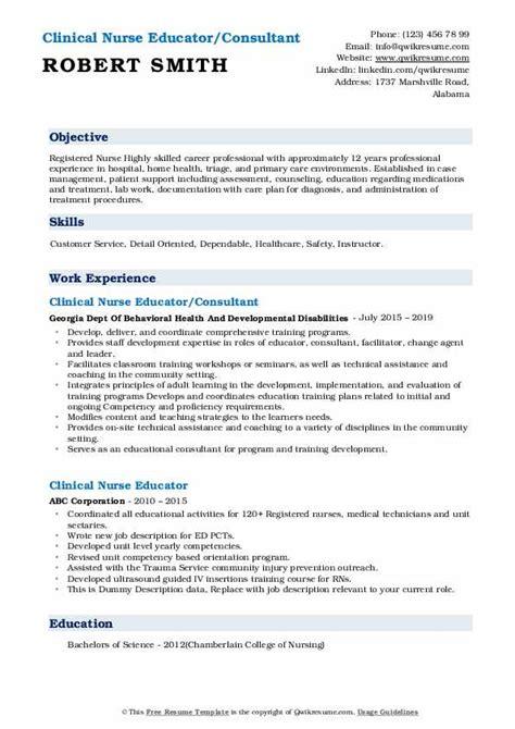 clinical nurse educator resume samples qwikresume