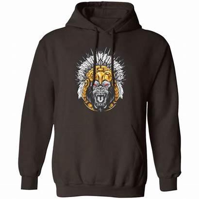 Gorilla Headdress Fighters Foo Aztec Fan Wearing