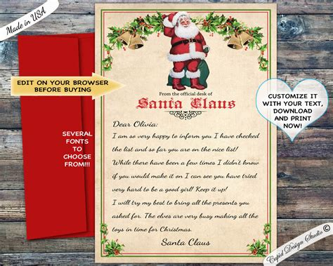 printable personalized letter  santa claus template