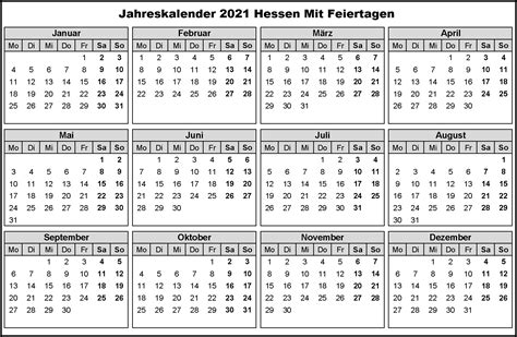 Wie jedes jahr bieten wir ihnen an dieser stelle an, unsere ferienkalender 2021 zum ausdrucken mit ferien, kostenlos herunterzuladen. Kostenlos Druckbar Jahreskalender 2021 Hessen Kalender Zum ...