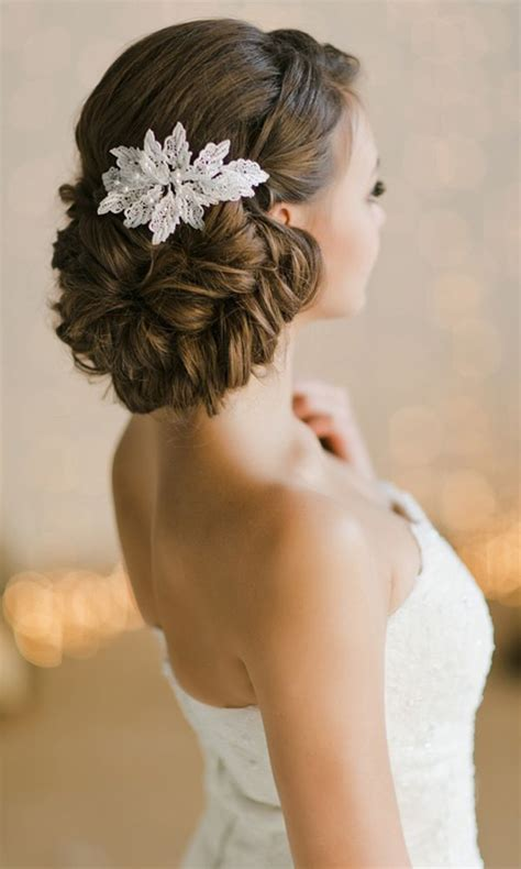 bridal updos  wedding hairstyle  lace headpiece