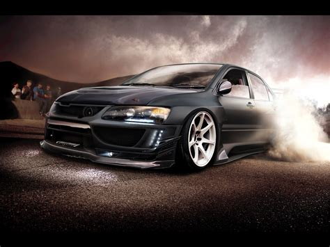 mitsubishi evo burnout desktop wallpaper