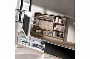 Meuble Rangement Mural : panneau tv pivotant avec rangement meuble tv pour salon ~ Mglfilm.com Idées de Décoration