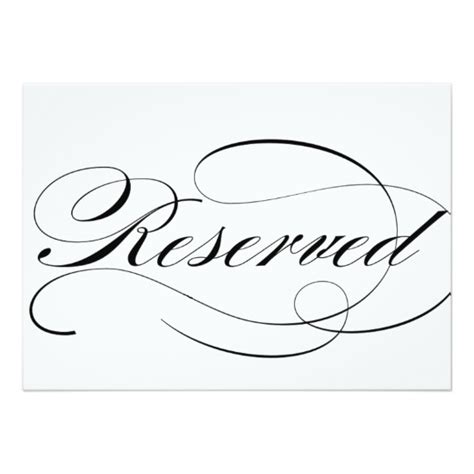 reserved sign template reserved seating sign for wedding reception card zazzle