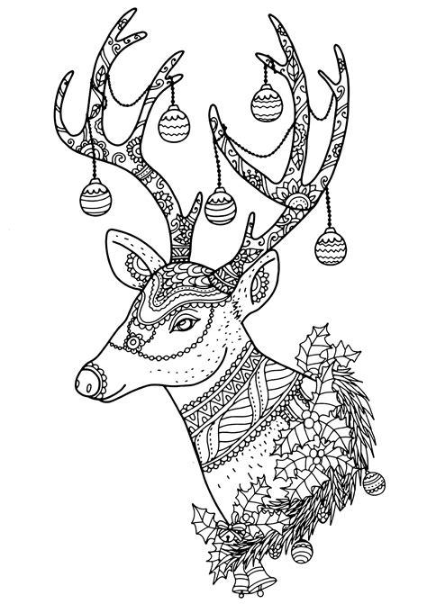 christmas reindeer nontachai hengtragool christmas adult coloring pages