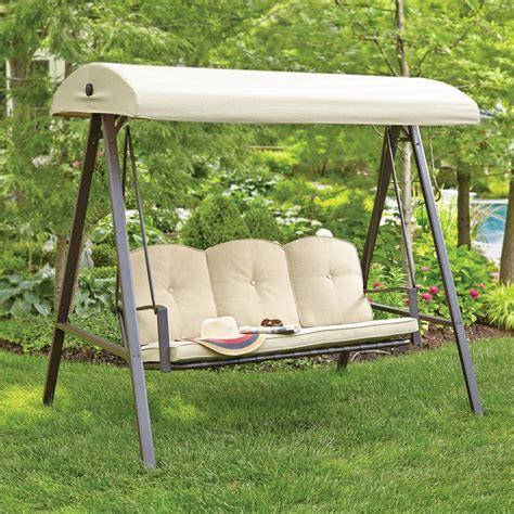 3 person cushion patio swing with canopy hton bay cunningham 3 person metal outdoor swing with