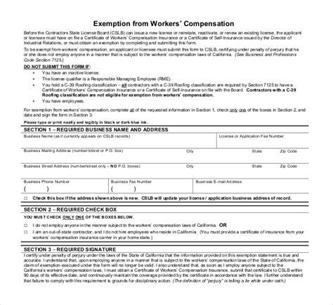 workers compensation exemption letter 11 sle workers compensation forms sle forms