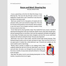 Reading Comprehension Worksheet  Bacon And Wool Shearing Day
