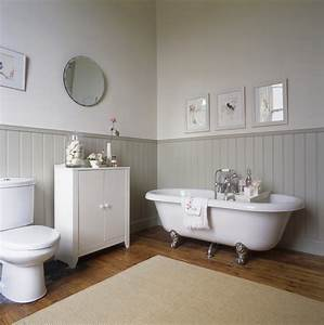 country bathroom cast iron tubbeadboard or With bathrooms with panelled walls