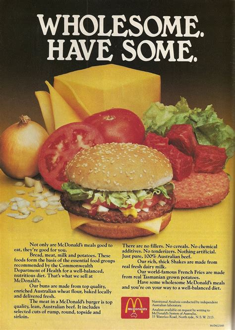 cuisine ad quot not only are mcdonald 39 s meals to eat but they 39 re for you quot i mcdonalds as much