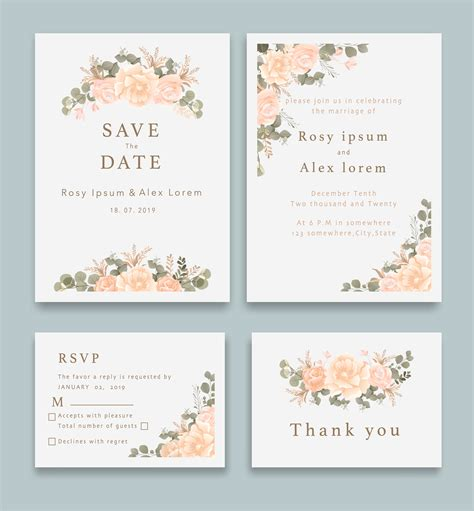 Wedding Invitations save the date card design with elegant