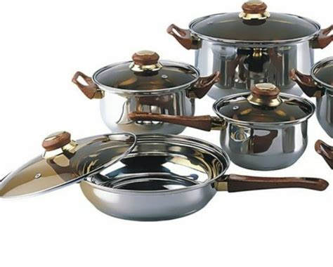 piece stainless steel pots  pans cookware set