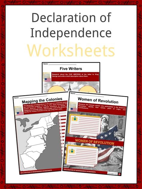 declaration  independence facts worksheets school
