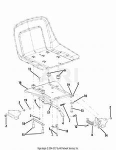 Troy Bilt 17ae2acg011 Mustang Colt Rzt 42  2008  Parts Diagram For Seat Adjustment