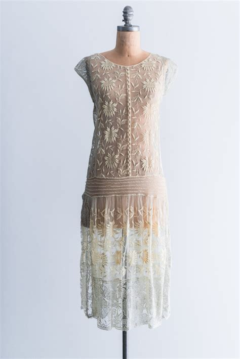 yellow french knot embroidered lace flapper dress