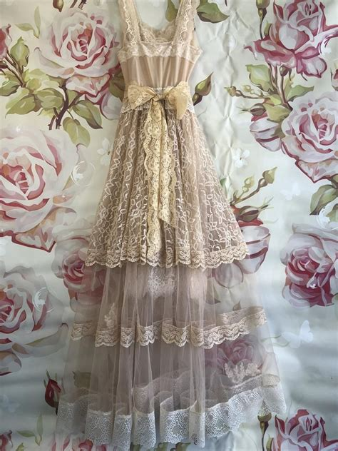 Tan & cream tulle lace organdy boho wedding dress by ...