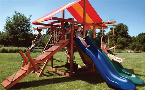 Backyard Playground Equipment With 2 Slides  Big Top