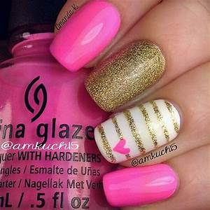 Pink, White, And Gold Nail Art | Brie' stuff | Pinterest ...