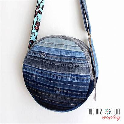 Denim Upcycled Bags Canteen Circle Thee