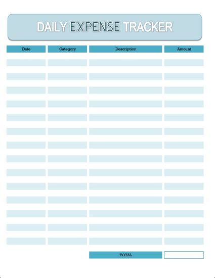 daily expense tracker excel spreadsheet  printable