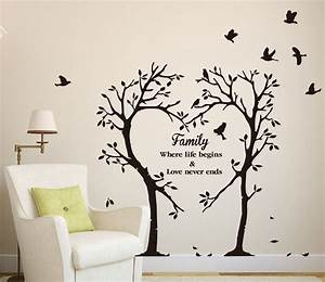 large family inspirational love tree wall art sticker With inspiring tree wall decals for living room