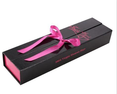 beautiful hair extension packaging box with silk ribbon closing