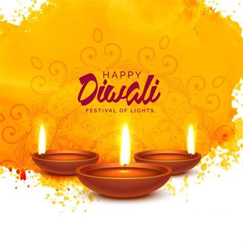 happy diwali vector background  orange watercolor