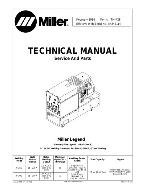 miller electric legend aead 200 le user manual 68 pages