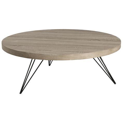 table basse ronde r 233 tro bois et pieds m 233 tal noir en 233 pingle 4 tiges 90x90x33cm landaise