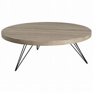 Table Ronde Aluminium : table basse ronde r tro bois et pieds m tal noir en pingle 4 tiges 90x90x33cm landaise ~ Teatrodelosmanantiales.com Idées de Décoration