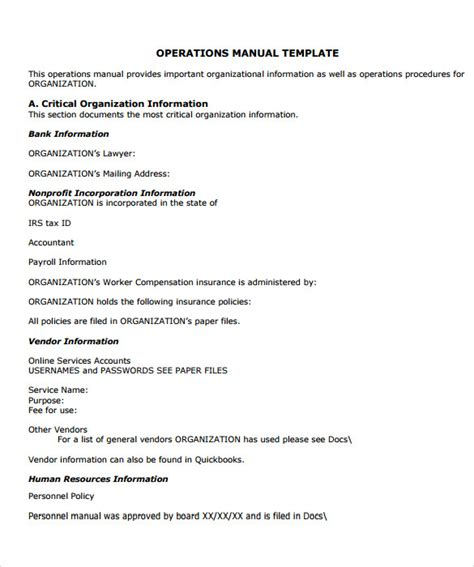 sample office manual  documents   word