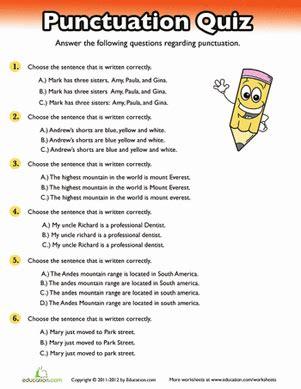 punctuation quiz worksheet education